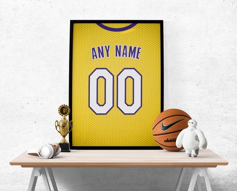 Los Angeles Lakers Gold Jersey Poster - Print Personalized Select ANY Name & ANY Number - PixArtsy