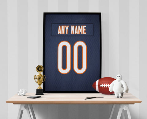 Chicago Bears Jersey Poster - Print Personalized Select ANY Name & ANY Number - PixArtsy