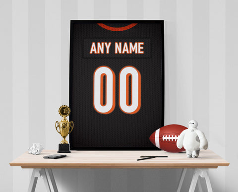 Cincinnati Bengals Jersey Poster - Print Personalized Select ANY Name & ANY Number - PixArtsy
