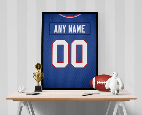 Buffalo Bills Jersey Poster - Print Personalized Select ANY Name & ANY Number - PixArtsy