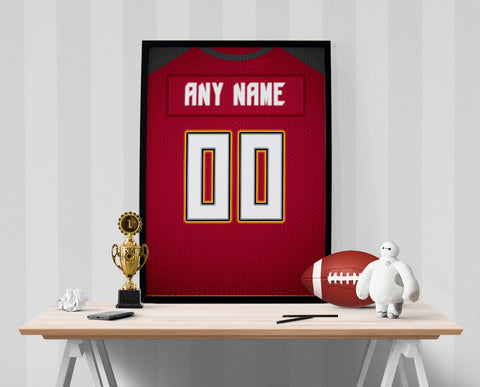 Tampa Bay Bucs Jersey Poster - Print Personalized Select ANY Name & ANY Number - PixArtsy