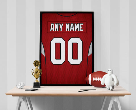 Arizona Cardinals Jersey Poster - Print Personalized Select ANY Name & ANY Number - PixArtsy