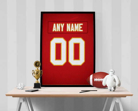 Kansas City Chiefs Jersey Poster - Print Personalized Select ANY Name & ANY Number - PixArtsy - 1