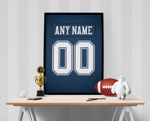 Dallas Cowboys Jersey Poster - Print Personalized Select ANY Name & ANY Number - PixArtsy