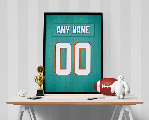 Miami Dolphins Jersey Poster - Print Personalized Select ANY Name & ANY Number - PixArtsy