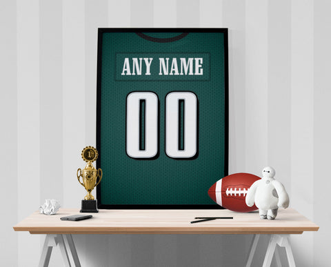 Philadelphia Eagles Jersey Poster - Print Personalized Select ANY Name & ANY Number - PixArtsy - 1