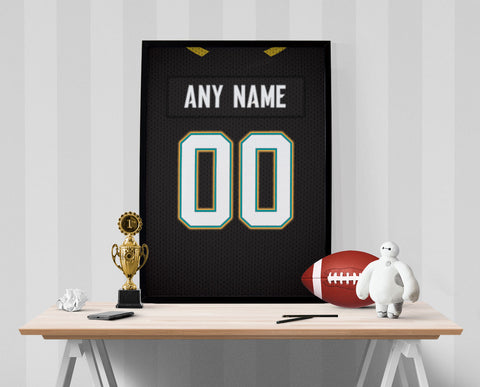 Jacksonville Jaguars Jersey Poster - Print Personalized Select ANY Name & ANY Number - PixArtsy - 1