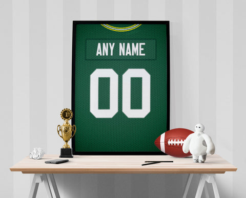 Green Bay Packers Jersey Poster - Print Personalized Select ANY Name & ANY Number - PixArtsy