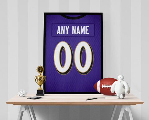 Baltimore Ravens Jersey Poster - Print Personalized Select ANY Name & ANY Number - PixArtsy - 1