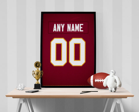 Washington Redskins Jersey Poster - Print Personalized Select ANY Name & ANY Number - PixArtsy