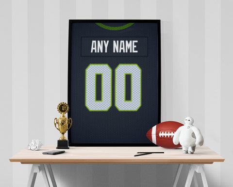Seattle Seahawks Jersey Poster - Print Personalized Select ANY Name & ANY Number - PixArtsy - 1