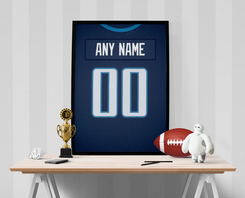 Tennessee Titans Jersey Poster - Print Personalized Select ANY Name & ANY Number - PixArtsy - 1