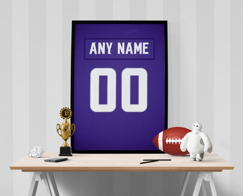 Minnesota Vikings Jersey Poster - Print Personalized Select ANY Name & ANY Number - PixArtsy - 1