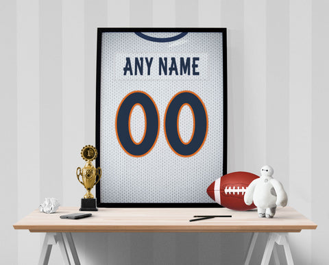 Denver Broncos Away Jersey Poster - Print Personalized Select ANY Name & ANY Number - PixArtsy