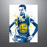 Stephen Curry Golden State Warriors Front Blue Jersey Poster - PixArtsy