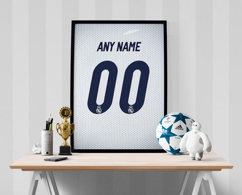 Real Madrid Soccer Jersey Poster - Print Personalized Select ANY Name & ANY Number - PixArtsy