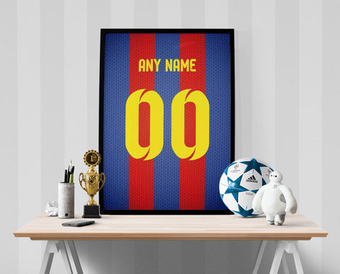 FC Barcelona Soccer Jersey Poster - Print Personalized Select ANY Name & ANY Number - PixArtsy
