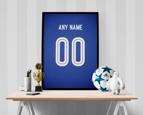 Chelsea Football Soccer Jersey Poster - Print Personalized Select ANY Name & ANY Number - PixArtsy