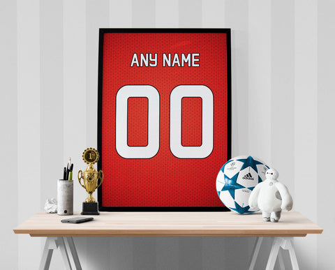 Manchester United Football Soccer Jersey Poster - Print Personalized Select ANY Name & ANY Number - PixArtsy