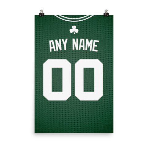 uk availability 399c5 a305c Boston Celtics Jersey Poster - Print Personalized Select ANY Name & ANY  Number