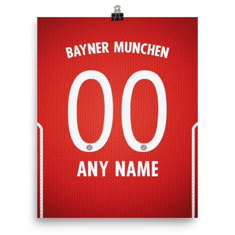 new concept 8a5f7 d2b7d FC Bayern Munchen Football Soccer Jersey Poster - Print Personalized Select  ANY Name & ANY Number
