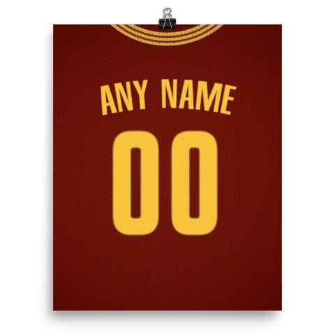 09a3db3d9a56 Cleveland Cavaliers Red Jersey Poster - Print Personalized Select ANY Name    ANY Number - PixArtsy