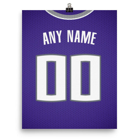 Sacramento Kings Jersey Poster - Print Personalized Select ANY Name & ANY Number - PixArtsy