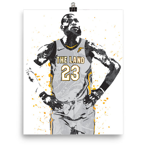 detailed pictures 85cf0 a0927 LeBron James Gray Jersey Cleveland Cavaliers Poster