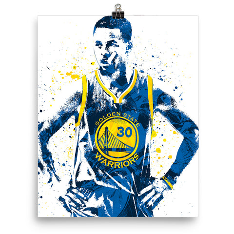 huge discount 66594 f039c Stephen Curry Golden State Warriors Front Blue Jersey Poster