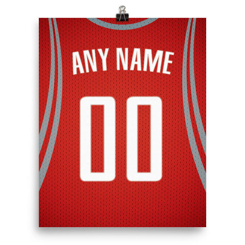 Houston Rockets Jersey Poster - Print Personalized Select ANY Name & ANY Number - PixArtsy - 2