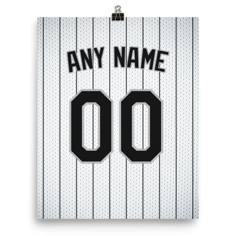 Chicago White Sox Jersey Poster - Print Personalized Select ANY Name & ANY Number - PixArtsy