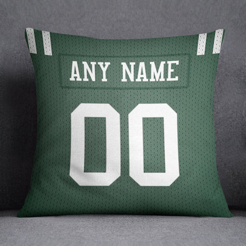 New York Jets Pillow Front and Back 18 x 18 - Print Personalized Select ANY Name & ANY Number - PixArtsy