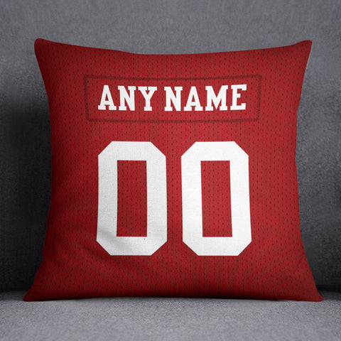 San Francisco 49ers Pillow Front and Back 18 x 18 - Print Personalized Select ANY Name & ANY Number - PixArtsy