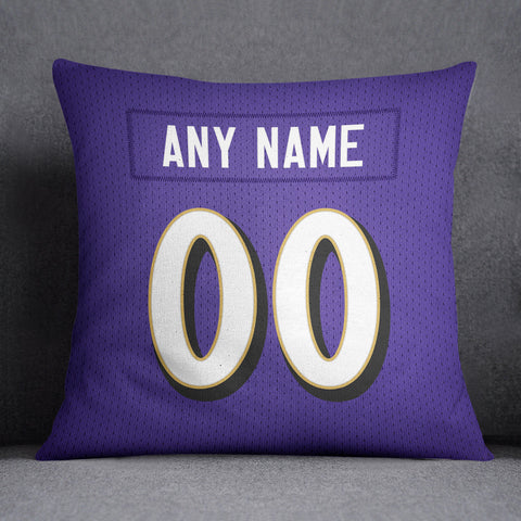 Baltimore Ravens Pillow Front and Back 18 x 18 - Print Personalized Select ANY Name & ANY Number - PixArtsy