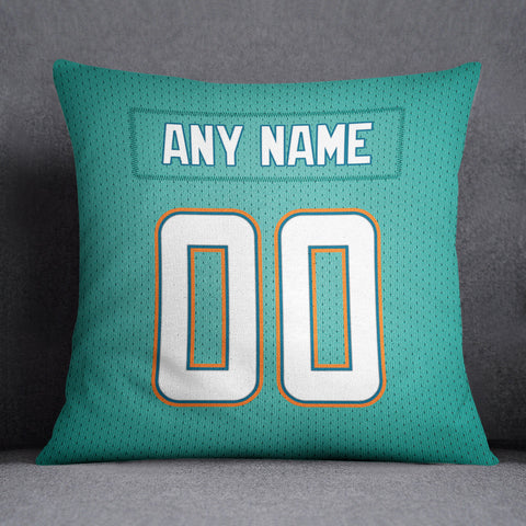 Miami Dolphins Pillow Front and Back 18 x 18 - Print Personalized Select ANY Name & ANY Number - PixArtsy