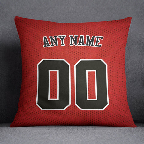 Chicago Bulls Pillow Front and Back 18 x 18 - Print Personalized Select ANY Name & ANY Number - PixArtsy - 1