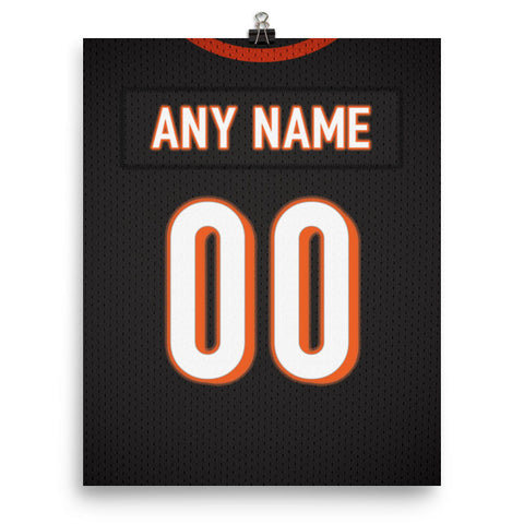 Cincinnati Bengals Jersey Poster - Print Personalized Select ANY Name & ANY Number - PixArtsy - 2