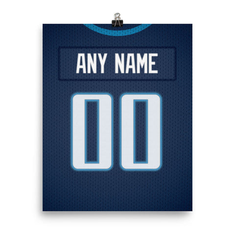 Tennessee Titans Jersey Poster - Print Personalized Select ANY Name & ANY Number - PixArtsy
