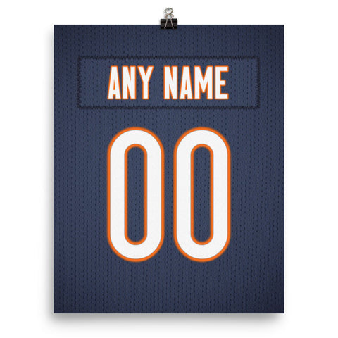 release info on 91832 cc58d Chicago Bears Jersey Poster - Print Personalized Select ANY Name & ANY  Number