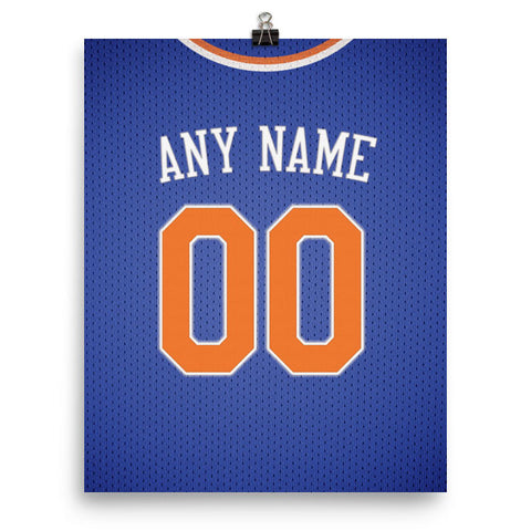 New York Knicks Jersey Poster - Print Personalized Select ANY Name & ANY Number - PixArtsy