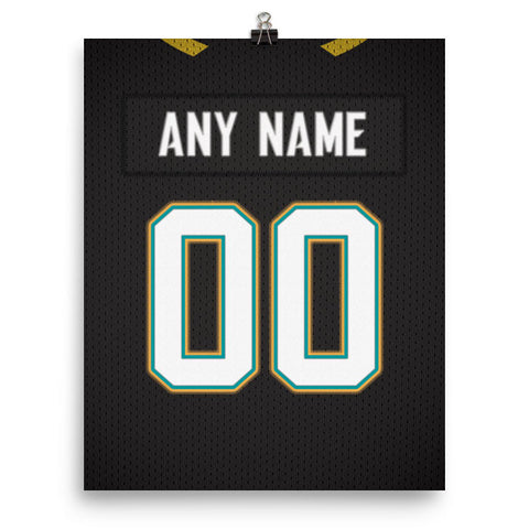 Jacksonville Jaguars Jersey Poster - Print Personalized Select ANY Name & ANY Number - PixArtsy