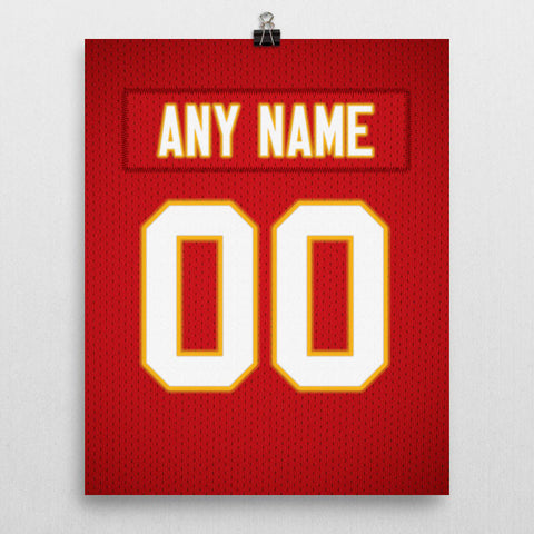 Kansas City Chiefs Jersey Poster - Print Personalized Select ANY Name & ANY Number - PixArtsy