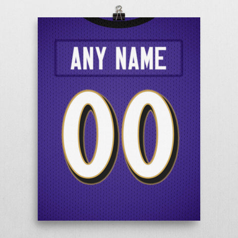Baltimore Ravens Jersey Poster - Print Personalized Select ANY Name & ANY Number - PixArtsy - 2