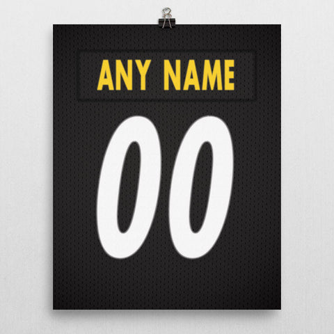 Pittsburgh Steelers Jersey Poster - Print Personalized Select ANY Name & ANY Number - PixArtsy