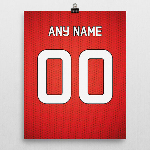 check out 7c094 993f7 Manchester United Football Soccer Jersey Poster - Print Personalized Select  ANY Name & ANY Number