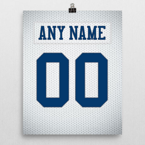 Dallas Cowboys White Jersey Poster - Print Personalized Select ANY Name & ANY Number - PixArtsy - 2