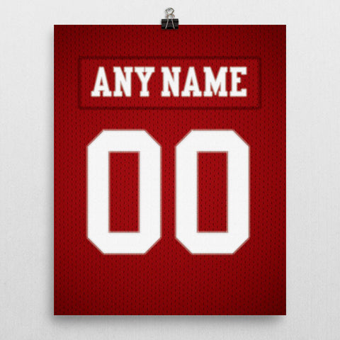 San Francisco 49ers Jersey Poster - Print Personalized Select ANY Name & ANY Number - PixArtsy - 2