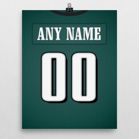 Philadelphia Eagles Jersey Poster - Print Personalized Select ANY Name & ANY Number - PixArtsy