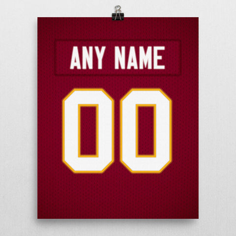 11a8effe113 Washington Redskins Jersey Poster - Print Personalized Select ANY Name & ANY  Number - PixArtsy