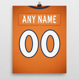 Denver Broncos Home Jersey Poster - Print Personalized Select ANY Name & ANY Number - PixArtsy